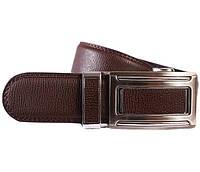 Стильный кожаный ремень классический коричневый
