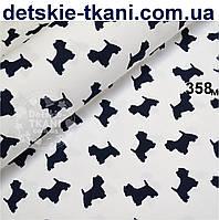 Ткань хлопковая Mist собачками тёмно-синего цвета на белом фоне ( № 358м)