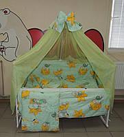 Детское постельное белье салатовое Мишки горох Bonna 9 в 1