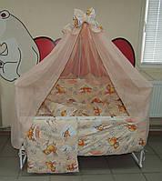 Комплект  постельного в детскую кроватку персик Мишки соты Bonna 9 в 1