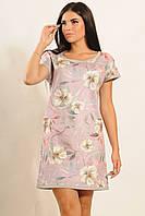 Модное замшевое платье трапеция с цветочным принтом 42-52 размера
