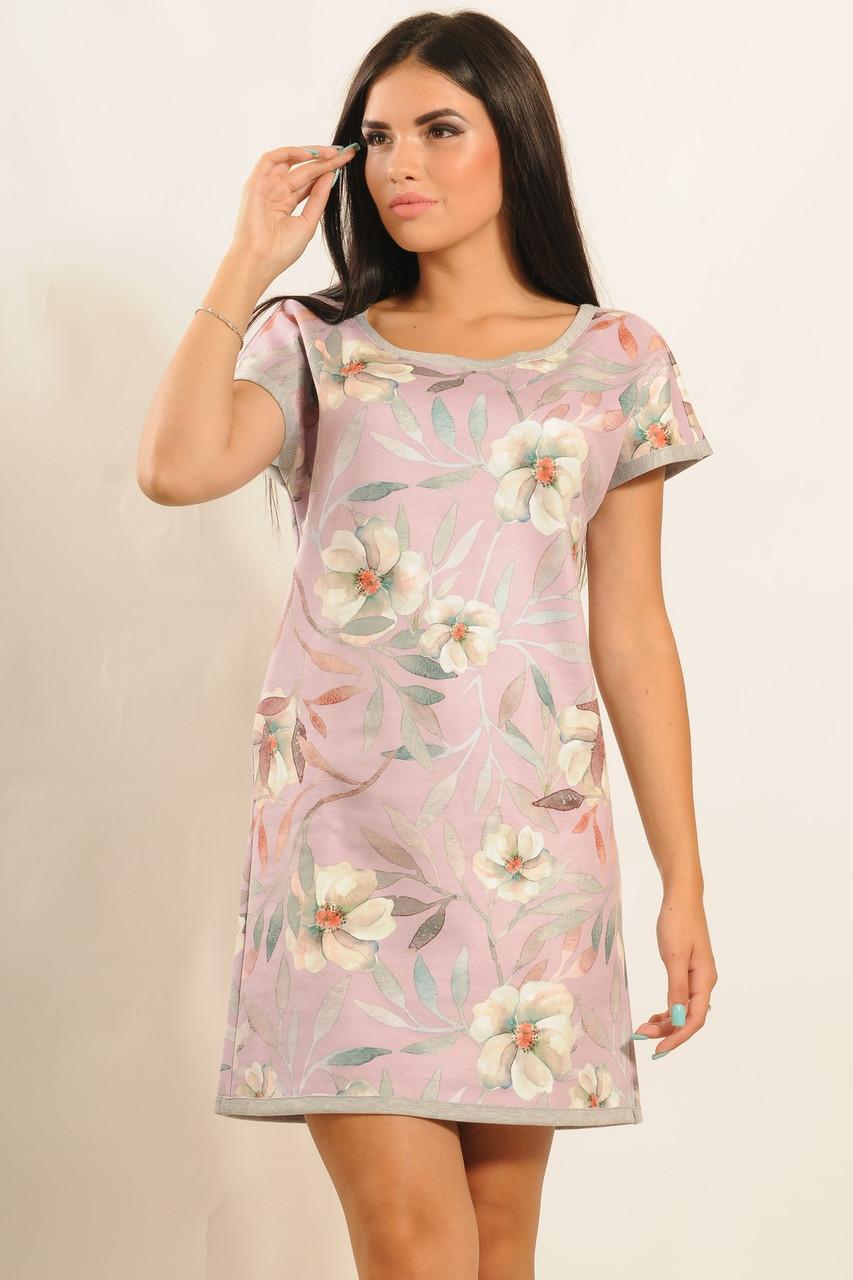 Модное замшевое платье трапеция с цветочным принтом 42-52 размера - TM