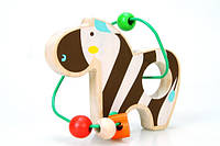 Деревянная игрушка Лабиринт из бус Зебра