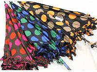 Зонт трость в горошек(три цвета) Коричневый с розовыми горохами