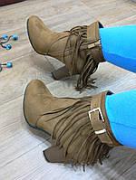 Ботинки на каблуке замшевые рыжие с бахромой 39