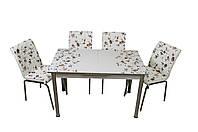 """Комплект стол и стулья для кухни """"Розы коричневые"""" (Лотос-М)"""
