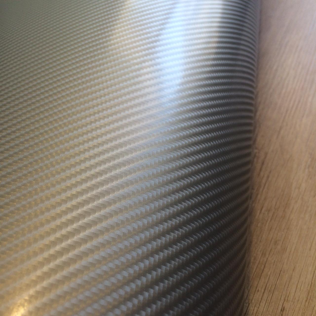 Карбоновая пленка 4д светло-серая под лаком с микроканалами