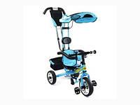 """Велосипед трехколесный BT-CT-0002 BLUE ручка,крыша,перед.кол.11"""",задние 9"""" /1/"""