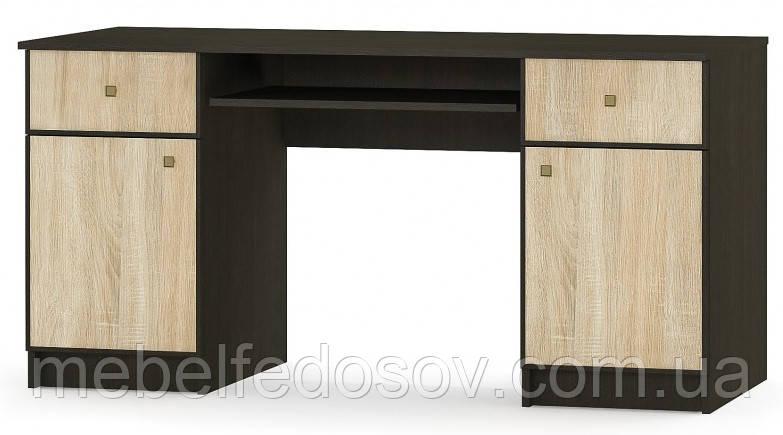 Стол 2Д/2Ш Фантазия (Мебель-Сервис)  1502х598х744мм венге + дуб самоа
