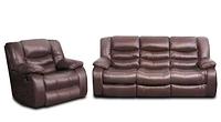 Кожаный трехместный диван с креслом - Эшли, коричневый