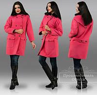 Женское кашемировое пальто зимнее со съёмным меховым воротником по цене от производителя