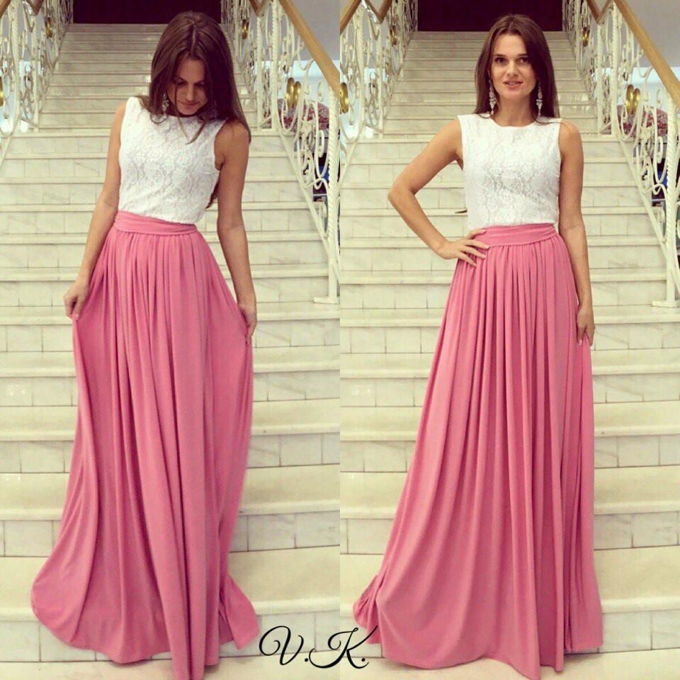 1fe249226c18 Элегантное вечернее платье в пол, верх гипюр низ микромасло, розовое -  Модный гардероб в