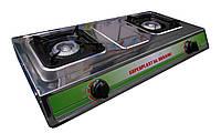 Настольная газовая плита Мечта: 2 конфорки, нержавеющая сталь, 2800 Вт, 72х39х12 см, 7 кг