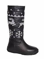 Женские зимние кожаные сапоги с оленями