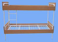 Кровать металлическая двухъярусная облагороженная ЛДСП для студентов, фото 1