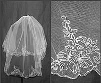 Свадебная фата с вышивкой (КВ-В-Роза)