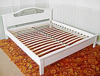 """Кровать белая """"Фантазия - 2"""". Массив - сосна, ольха, дуб."""