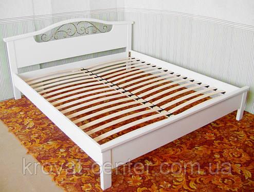 """Белая кровать """"Фантазия - 2"""". Массив - сосна, ольха, береза, дуб., фото 2"""