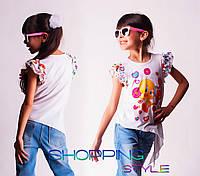 Детская футболка для девочки Цыпленок с шифоновыми рукавчиками