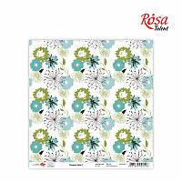 """Бумага для скрапбукинга """"Flowers time"""" 1, 30,5 * 30,5см, 180г / м2 ТМ ROSA Talent (481401-1)"""