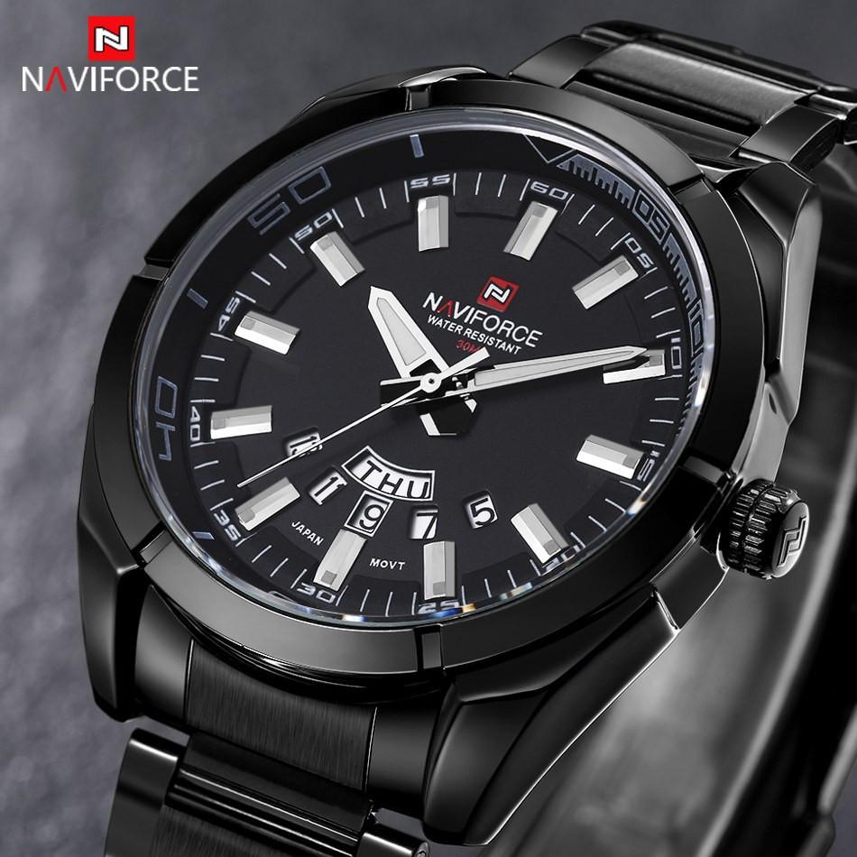 Мужские часы Naviforce NF9038M Male Quartz Watch Date Day Display 3ATM