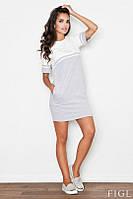 Короткое двухцветное платье с карманами в боковых швах