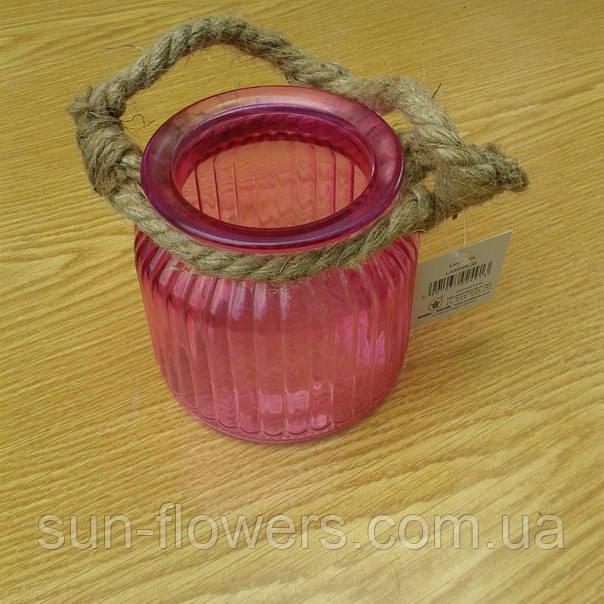 Ваза скло рожева прозора з шнуром з мотузки