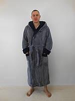 Мужской длинный халат с капюшоном ТМ Селим Текстиль