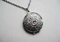 Серебристый винтажный медальон для фотографии, медальон для влюбленных