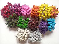 """Цветы искусственные""""Ягоды в сахаре""""  по 20 шт. пластик, сдвоенные, итого 40 шт в наборе."""