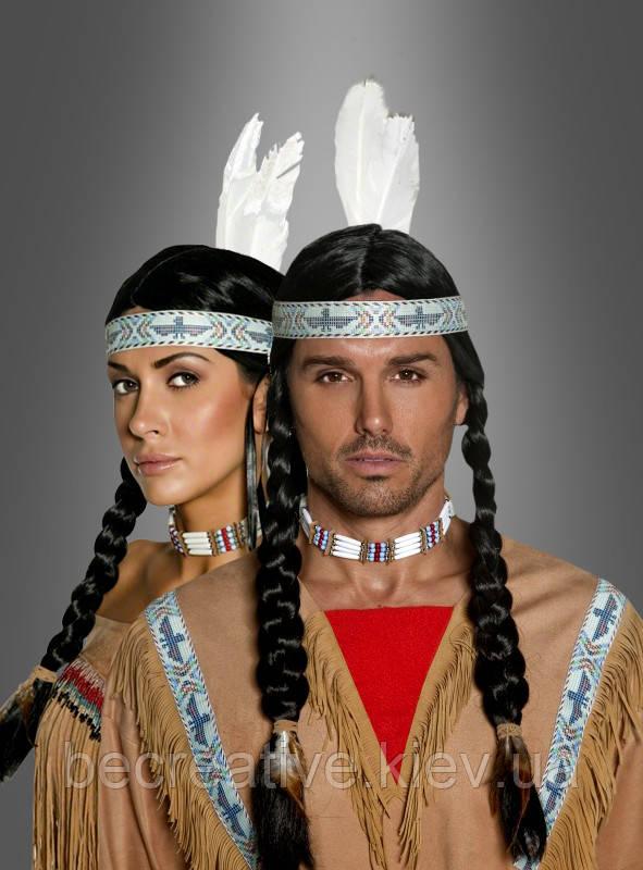 Длинный карнавальный парик, индийский (с косичками)