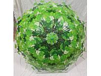 Зонт трость с листьями ЗЕЛЕНЫЙ