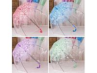 Зонт трость Сакура, прозрачный
