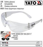 Очки окуляри захисні відкриті прозорі YATO-7360