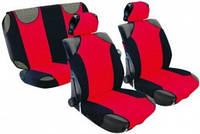 Майки на сиденья передние, 2 подголовника, черные-красные, Vitol