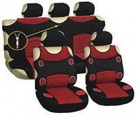 Майки на сиденья передние и задние, 5 подголовников, черные-красные, Vitol