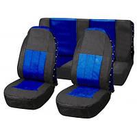 Чехлы на сиденья передние, оплетка на руль + чехлы ремня безопасности, черные-синие, Vitol