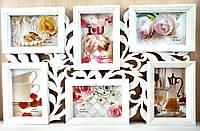 Мультирамка Цветы на 6 фотографий белая