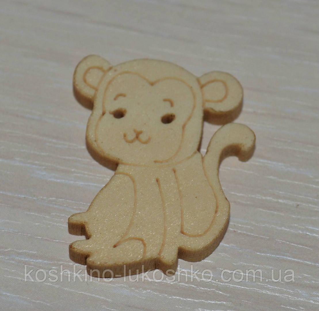 Пуговица деревянная обезьяна