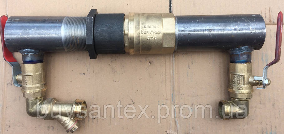 Байпас 50 мм короткий с латунным клапаном, фото 2