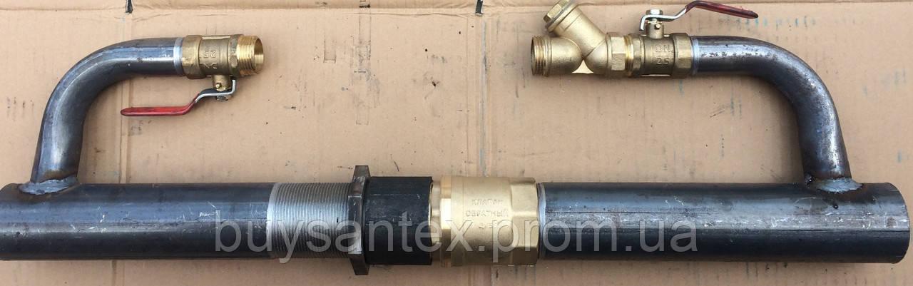 Байпас 50 мм длинный с латунным клапаном