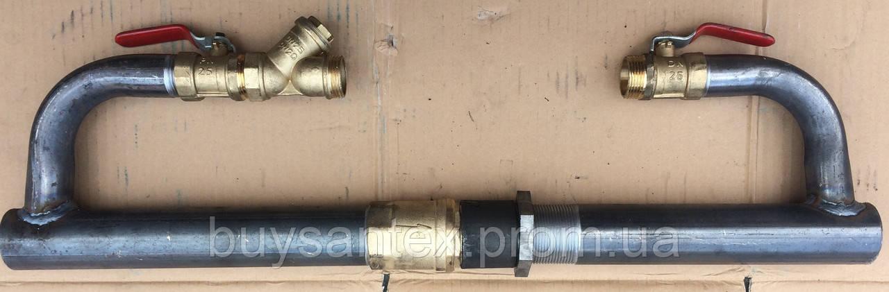 Байпас 40 мм длинный с латунным клапаном