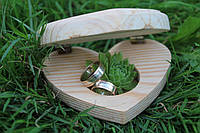 свадебная эко-подставка для колец , фото 1