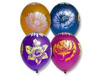 """Латексные воздушные шары BELBAL Бельгия кристалл прозрачный круглые с рисунком 14 дюймов/36 см,""""Цветы"""", 25 шт"""