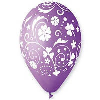 """Латексные воздушные шары Gemar Италия пастель круглые с рисунком 12 дюймов/30 см,""""Цветы в завитках"""", 100 штук"""