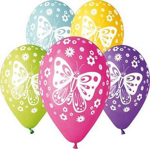 """Повітряні кулі латексні Gemar Італія пастель круглі з малюнком 12 дюймів/30 см,""""Метелики"""", 5 штампів,100 штук"""