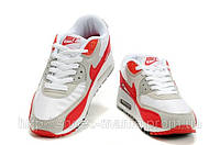Женские Nike Air Max 90 (white-red-grey), фото 1