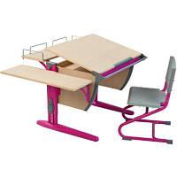 Детская парта-трансформеры Дэми СУТ.14-02  ортопедическое кресло, цвет клен / розовый.