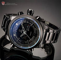 Армейские наручные часы Shark Black Men LCD Digital Steel Quart металические мужские