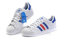Кроссовки Adidas Superstar white-blue-red